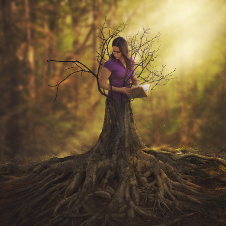 A woman reading a book and turning into a tree.