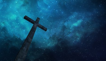 dark skies: A single wooden cross before a starry sky Stock Photo