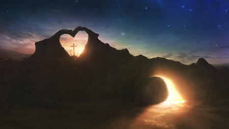 3 つの十字架とハート型岩中にイースター朝の空の墓