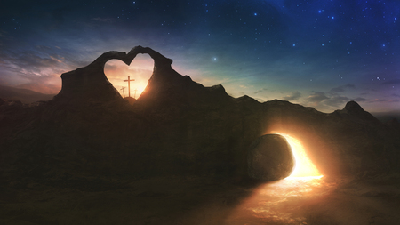 Three crosses and an empty grave on Easter morning with a heart shape in the rocks Stock Photo