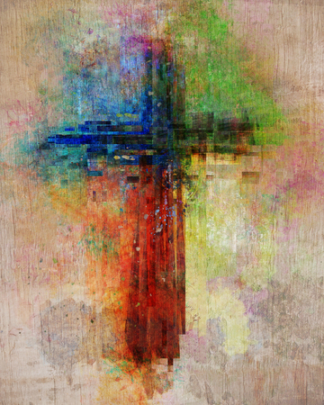 Colorful and abstract cross shape with paint splatters