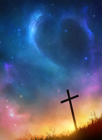 A single cross before a beautiful night sky Stock Photo - 75724043