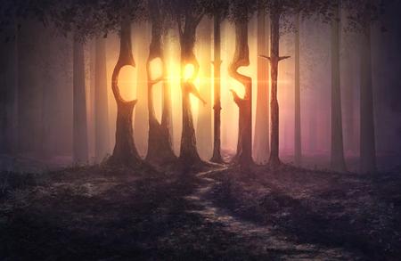 Illustratie van bomen die Christus uitspelen.