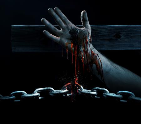 La sangre de Jesús gotea y rompe una cadena Foto de archivo - 74918943