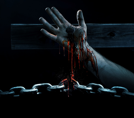 The blood of Jesus drips down and breaks a chain Stok Fotoğraf - 74918943