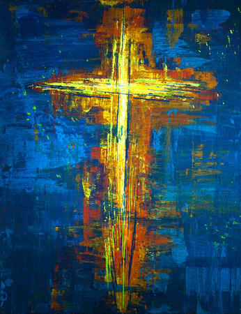 Abstract cross painting with yellow and blue colors
