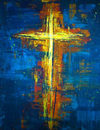 Pintura abstracta con colores amarillos y azules Foto de archivo - 81659731