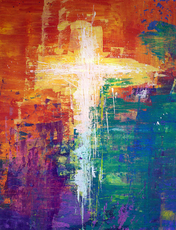 White cross abstract painting with vibrant colors Stock Photo