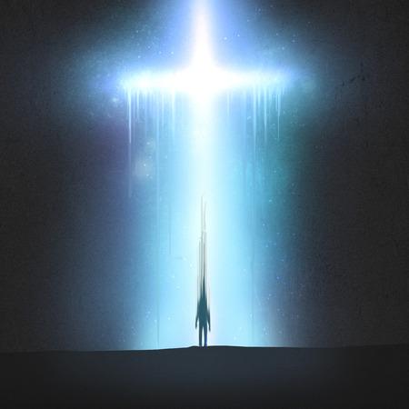 큰 빛나는 십자가가 퇴색 한 남자와 함께 퇴색합니다.