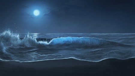 Beautiful moonlit waves on a peaceful beach. 3D illustration.