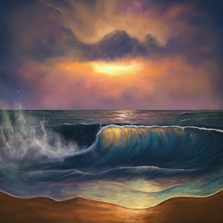 Mooie oceaan golven tijdens een kleurrijke zonsopgang. 3D illustratie Stockfoto - 81659704