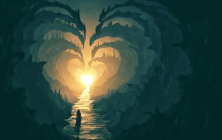 A woman walks through dangerous rocks in the shape of a heart