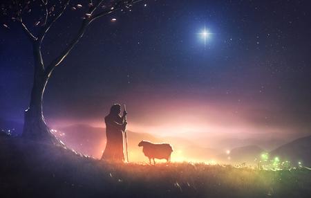 Ein Hirte beobachtet seine Schafe unter dem Stern von Bethlehem Standard-Bild