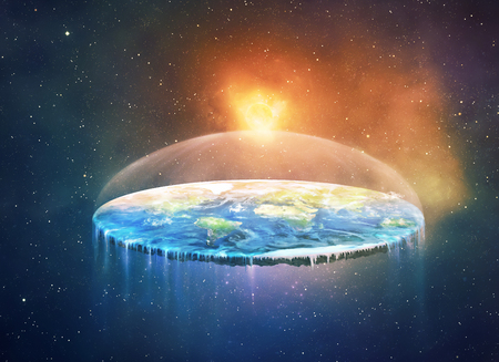 A surreal of a flat earth in space