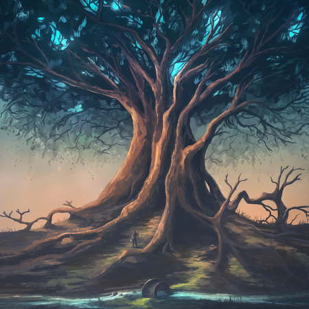 Digital painting of a peaceful nature scene with a large tree. Stock Photo