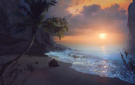 Beautiful sunrise over peaceful beach. Фото со стока