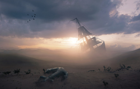 Surreal image of a shipwreck in the desert with a lost anchor Фото со стока
