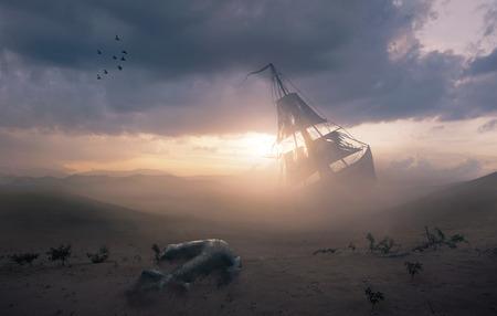 Imagen surrealista de un naufragio en el desierto con un ancla perdida