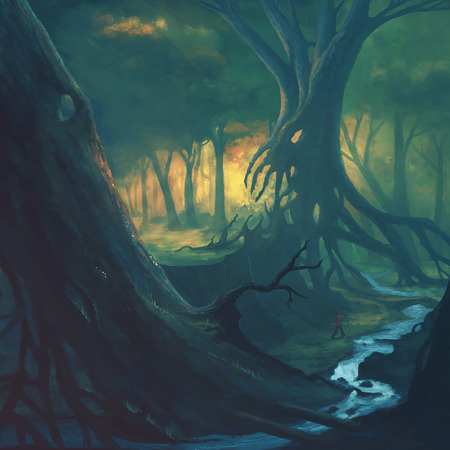 Digital illustration of a man walking through a scary forest Stock Photo