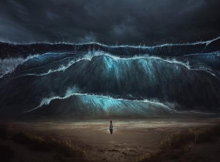 Eine Frau steht allein vor einer großen Flutwelle, die an den Strand kommt.