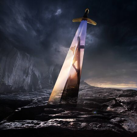 A large sword stuck in the rock, with Jesus on the cross in the reflection