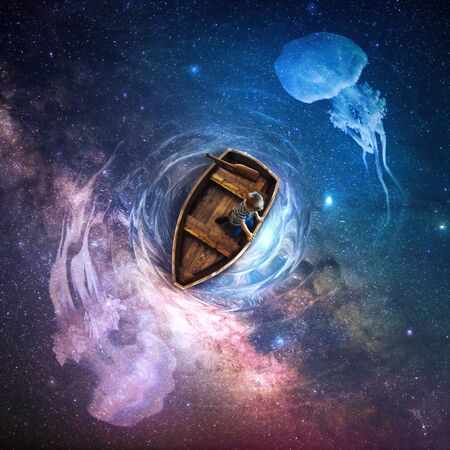 A little boy is on a small wooden boat on top of a colorful universe scene