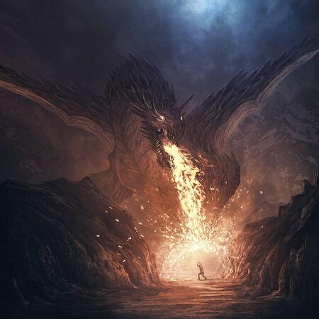A large dragon breathes fire and a man defends himself