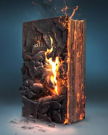 A Bible being burned by a fire