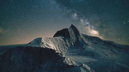 Beautiful mountain ridge under the milky way