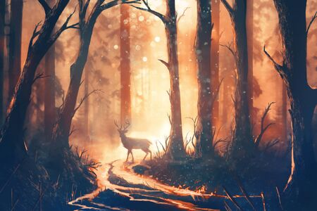Digital illustration of a deer in a forest with warm colors