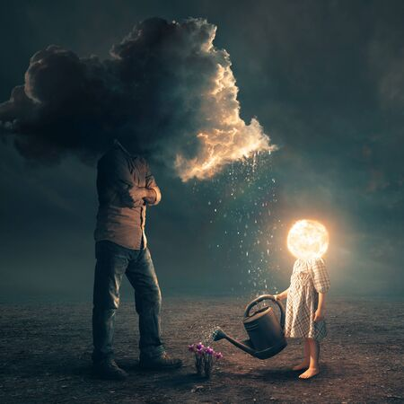 Surreal image of a father and daughter with storm clouds and a bright sun.
