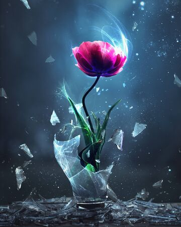 A single pink tulip is burst forth from a broken light bulb Фото со стока