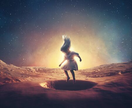 A little girl jumps in craters on mars.