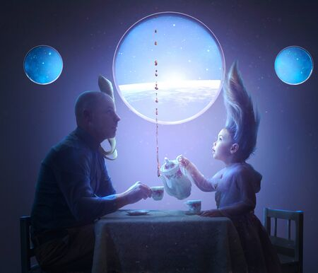 A father and daughter share a tea party in space