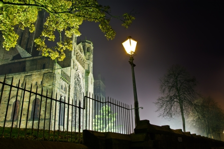 Durham Cathedral on a foggy winters evening as seen from Duncow Lane in the city of Durham