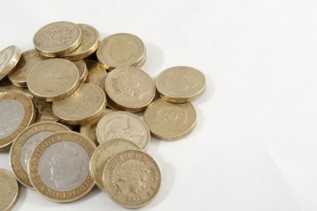 A pile of one and two pound coins