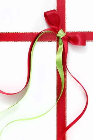 Decorative bow of red and green ribbon