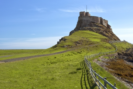 Beautiful Lindisfarne Castle situated on the Holy Island of Lindisfarne, Northumberland, United Kingdom  Stock fotó