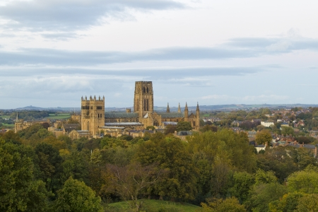 Durham Cathedral standing over the city of Durham in the evening light just before sunset.