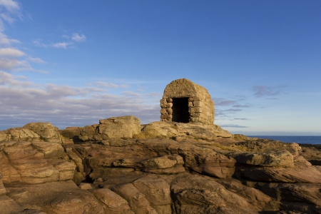 Old Dynamite hut on the rocks at Seahouses,Northumberland