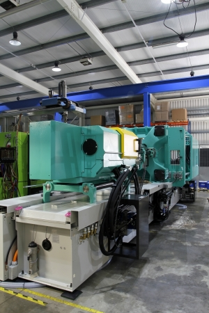 moulded: Injection moulding machine used for the forming of plastic parts using plastic resin and polymers.