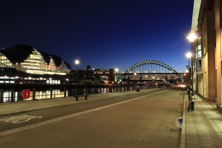 View alon the Newcastle quayside towards the Tyne bridge and the Sage building
