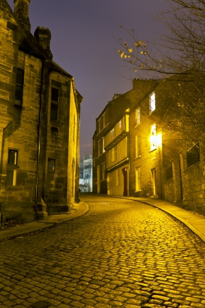View up Owengate toward Durham Cathedral late night