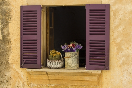 An attractive flower display in a rustic window setting  Stock fotó