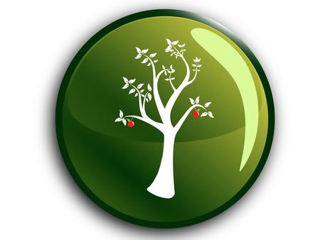 Eco Tree Button Reklamní fotografie - 26080422