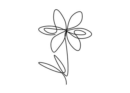 Spring flower one line drawing, vector illustration  イラスト・ベクター素材