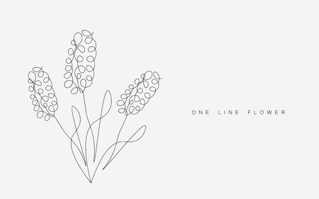 Spring flowers one line drawing, vector illustration