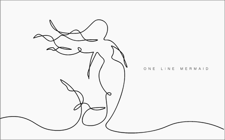 Mermaid swim in the sea with shell. Continuous line drawing. Vector illustration