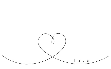 Heart love background one line drawing, vector illustration Stock Vector - 119221101