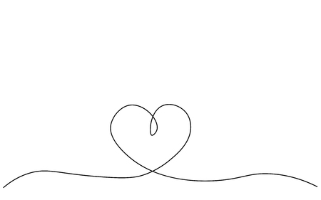 Heart love background one line drawing, vector illustration Stock Vector - 119221103